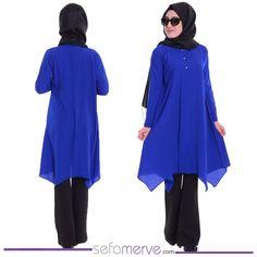 SON 3 ÜRÜN! Düğme Detaylı Tunik 4385-02 Saks #sefamerve #tesetturgiyim #tesettur #hijab #tesettür