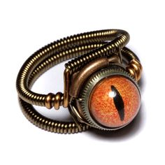 Steampunk reptile eye ring by Catherinette Rings