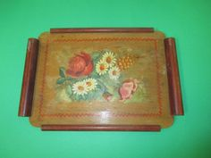 Vintage Handmade And Painted Wood Souvenir Tray Greeting From Czechoslovakia