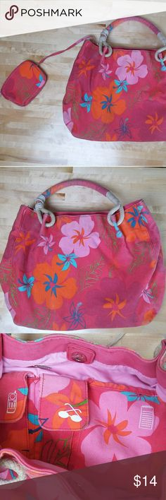 """Hawaiian print shoulder bag - As Is This fun, colorful canvas bag is perfect for a day at the beach. Snaps shut and features 4 small inner pockets, one that zippers, as well as an attached zip-up 6""""x4"""" wallet. Condition issues include a couple spots of discoloration on the outer, as well as the string which wraps around the handle for decor is coming unfurled. Otherwise good shape. Fully lined. Made in China. Color is hot pink with orange flowers and blue accents. Measurements are(""""): Strap…"""