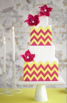 Chevron wedding cake. Love the colors!