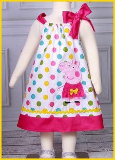 Super Cute Pretty Polka dot Peppa Pig applique Dress