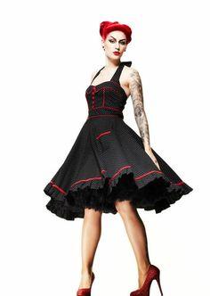 Hell Bunny Vanity Dress Black White Polka Dot 50's Pinup Plus Size Regular   eBay