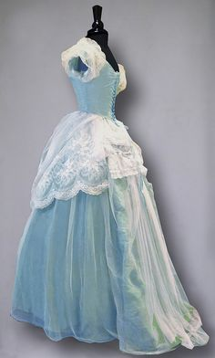 Aqua satin evening gown with white tulle and lace overlay (back), 1860. William Benton Museum of Art.