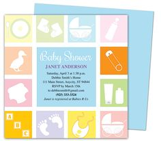 Baby Shower Invitations Template : Blocks Shower Invitation Templates.  Edit yourself with Word, Publisher, Apple iWork Pages