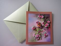 Handmade 3D Bird and Flowers Pearlescent by HandmadeVCreations