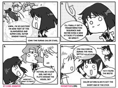 MoonSticks #48 Saturn's Exciting Return featuring the outer senshi Sailor Saturn/Hotaru Tomoe, Sailor Uranus/Haruka Tenou, Sailor Neptune/Mi...