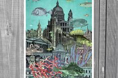 Undersea City. Collage Print. Poster. Digital by SaturnPrint