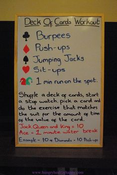 Deck of Cards Workout...seems intersting, might switch some of the options. Not a fan of burpees