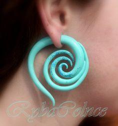 Fake ear gauge - Faux gauge/Gauge earrings/spiral gauge/ fake piercing/ piercing by RybaColnce on Etsy