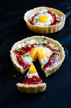 Cheese tart with egg and roasted red bell pepper | giverecipe.com | #tart #savory