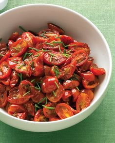 Oven-Roasted Grape Tomatoes with Chives.. oh yum, I could eat the whole thing right now!
