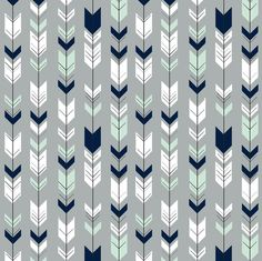 Gray Arrows Quilting Fabric by the Yard. Cotton Arrow Tribal Woodland Nursery Gender Neutral Mountains Mint Navy White, Children's Fabric Stephanie LaBair stephlabair Nursery Fletching Arrows in Mint and Navy on Gray Background fabric shown in the pi Baby Boy Rooms, Baby Boy Nurseries, Kid Rooms, Baby Room, Crib Sheets, Crib Bedding, Paper Scrapbook, Arrow Fabric, Woodland Fabric