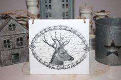 Vintage Schilder - Vintage Türschild Hirsch Holzschild shabby Herbst - ein Designerstück von Handmade-Erzgebirge bei DaWanda