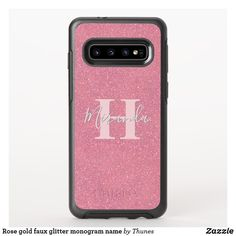Rose gold faux glitter monogram name OtterBox symmetry samsung galaxy case Samsung Cases, Iphone Cases, Samsung Galaxy, Glitter Phone Cases, Glitter Background, Synthetic Rubber, Monogram Letters, Things To Come, Rose Gold