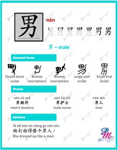 #365Chinese - Character of the Day @ #PaceMandarin nán 男 male http://www.pace-mandarin.com/nan2-male/