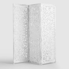 Featuring intricate floral medallion motif inspired by gardens in Bangalore, our Zaria screen is hand carved by artisans in India. It& made of whitewashed mango wood to bring a touch of feminine style and privacy to any room. Ikea Furniture, Cool Furniture, Furniture Outlet, Furniture Stores, Furniture Websites, Furniture Movers, Inexpensive Furniture, Steel Furniture, Furniture Plans
