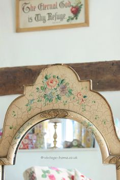 Vintage Home Shop - Beautiful 1930s Hand Painted Floral Mirror: www.vintage-home.co.uk