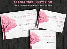 Spring Tree Wedding Invitation — Photoshop PSD #simple #pink • Available here → https://graphicriver.net/item/spring-tree-wedding-invitation/10135904?ref=pxcr