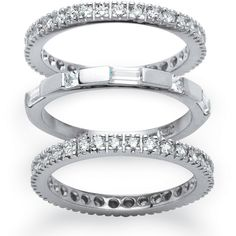 Palm Beach Jewelry PalmBeach 3 Piece 2.02 TCW Cubic Zirconia Eternity... ($51) ❤ liked on Polyvore featuring jewelry, rings, yellow, platinum band ring, wide-band rings, band rings, round cut rings and cubic zirconia eternity ring