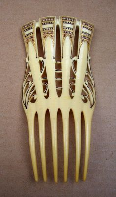 Egyptian Revival Hair Comb French Ivory with Gilded Decoration from spanishcomb on Ruby Lane