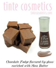 TINte Cosmetics Fudge Chocolate flavored lip gloss. a Deep dark brown shade enriched with shea butter