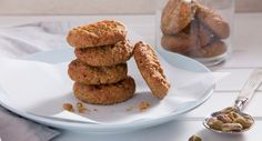 Get your sweet fix with these Oat & Pistachio Cookies. Delicious and crunchy thanks to the oats, nuts and added chick peas - you'll be hooked. Pop them in the kids' lunchboxes for a tasty treat but make sure you save one for yourself! Cookie Recipes, Dessert Recipes, Desserts, Pistachio Cookies, Afternoon Snacks, Tray Bakes, Yummy Treats, Tasty, Baking