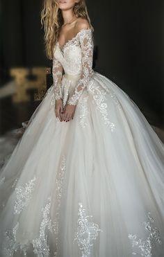 2018 Elegant White Lace Off Shoulder Wedding Dress,Long Sleeves Appliques Bridal Dress,High Quality Custom Made