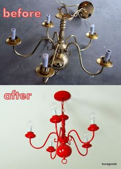 $6 brass chandelier re-do. Not this color but maybe recycle the old lighting I was going to throw away and paint back