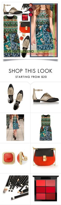 """""""#HotShoeTrend #AnkleWrapFlats #EmbroidedDress"""" by prigaut ❤ liked on Polyvore featuring Rebecca Minkoff, Burberry, Monet, Chloé, MAC Cosmetics and NARS Cosmetics"""