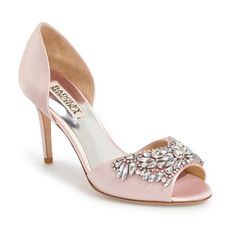 """Badgley Mischka 'Candance' Crystal Embellished d'Orsay Pump, 3 1/2""""... (14.020 RUB) ❤ liked on Polyvore featuring shoes, pumps, light pink, d'orsay pumps, open toe high heel shoes, high heel pumps, d'orsay shoes and open toe shoes"""