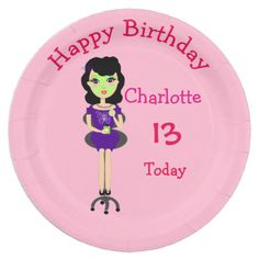 A cute paper plate for all those young ladies celebrating a birthday or special occasion with a pamper or spa themed party. This illustrated lady is certainly making the most of being pampered. Don't forget to change the name, age and message if required, there's no extra cost.