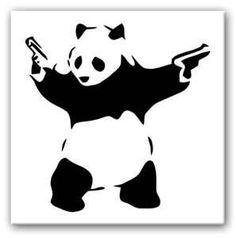 Banksy Pandamonium (Panda) Canvas Print - The UK's Premier Online Canvas Art Retailer. Bear Stencil, Stencil Art, Stencils, Banksy Canvas, Banksy Art, Bansky, Vinyl Art, Vinyl Decals, Banksy Prints