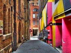contrast  Old meets new alleyway