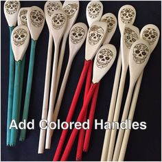 UPGRADE, Woodburned Spoon Set Upgrade, Add colored handles to wood-burned spoon set, You choose the color, One price for entire set