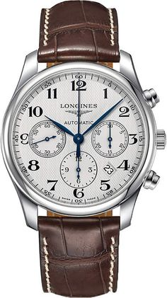 New Longines Master Automatic Chronograph watches to buy online and on sale at discount prices. - Page 1 Big Watches, Gents Watches, Stylish Watches, Luxury Watches For Men, Cool Watches, Elegant Watches, Wrist Watches, Dream Watches, Watch Master