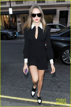 #Cara Delevingne #Dress #Sunglasses #StreetStyle