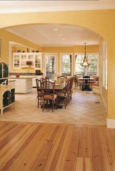 wide plank pine wood flooring | Heart Pine Kitchen | Carlisle Wide Plank Flooring