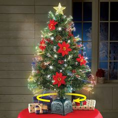 Rotating Poinsettia Tabletop Christmas Tree | Collections Etc.