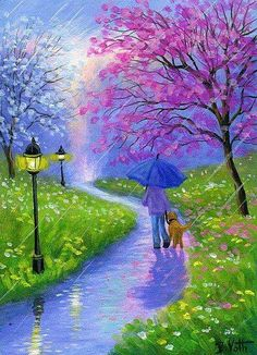 umbrellas.quenalbertini: Walking in the rain