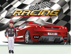 Formula 1 Red Car On Race Track Washable Wall Mural Pixers We