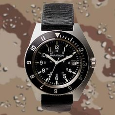 """In Gallet supplied """"Marathon Navigator"""" wristwatches to the U. military for Operation Desert Storm. Built to withstand combat conditions, most of these watches are still in service today. Sport Watches, Cool Watches, Rolex Watches, Watches For Men, Vintage Military Watches, Vintage Watches, Marathon Watch, Fitness Watch, Beautiful Watches"""