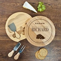 Personalised Extra Matured Cheese Board Set - Gift Idea Round Cheese Board with rotating integrated speciality knife compartment. Made from environmentally friendly sustainable Hevea wood which hold 2 wooden handled cheese knives and 1 cheese fork with stainless steel handles. Personalise with name and date (NAME up to 20 characters. YEAR 4 characters) the words 'extra matured' come as...