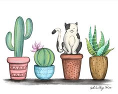 'Cat and Cacti Illustration' Kunstdruck von Aishwarya Vohra – Cactus Art And Illustration, Kaktus Illustration, Cactus Cat, Cactus House Plants, Indoor Cactus, Cacti, Cactus Drawing, Cactus Painting, Watercolor Cactus