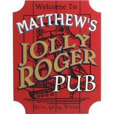 """Display a sign for your very own """"Jolly Roger"""" Pirate Bar"""