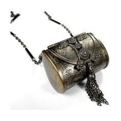 Steampunk Vintage Brass ORNATELY ETCHED Hinged Change Purse Pendant... ❤ liked on Polyvore featuring jewelry, pendants, victorian jewelry, steampunk locket, brass pendant necklace, steam punk jewelry and brass locket