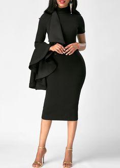 Black Bell Sleeve High Neck Bodycon Midi Dress