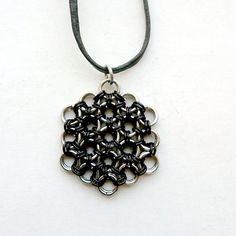 Flower of Life Pendant Black Chainmaille by DesignsbyNatureGems #statteam #forfall