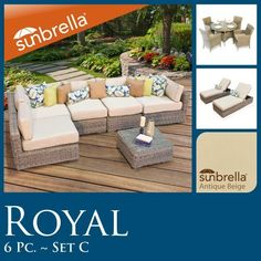 """13 Pc Combo Outdoor Patio Set 6pc Seating & 5pc Dining & 2 Chaise Lounge Wicker Sunbrella Covers!! by TK Classics. $3837.00. Ultra Deep seating modular sectional, allows for a variety of creative configurations. High Density PE (polyethylene) recyclable wicker - NOT made with PVC which is toxic and non-recyclable. High quality round wicker in rich hues of vintage stone. Comes Standard with Sunbrella Cushions. (2) Corner Sofa - 35"""" W x 35"""" D x 26"""" H (1) Coffee Tab..."""