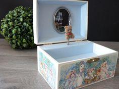 Vintage Girl's Teddy Bear Musical Jewelry Box  by myTreasureNook